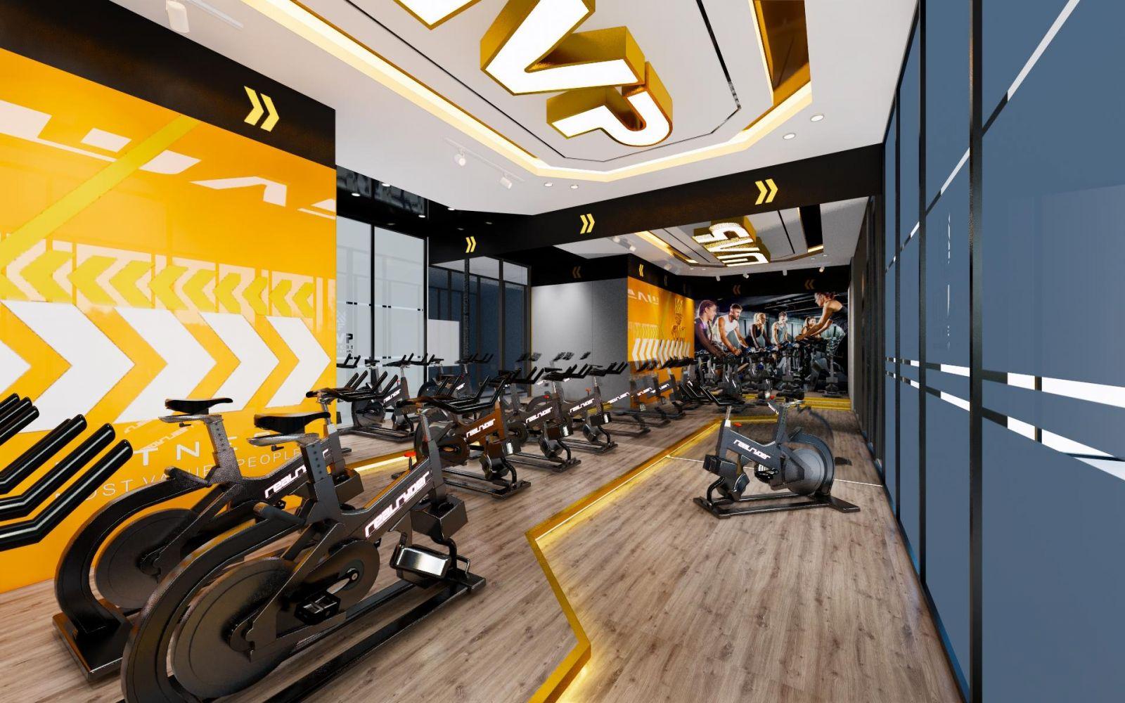 Thiết kế nội thất phòng GYM MVT ở 6th element Nguyễn Văn Huyên, Hà Nội