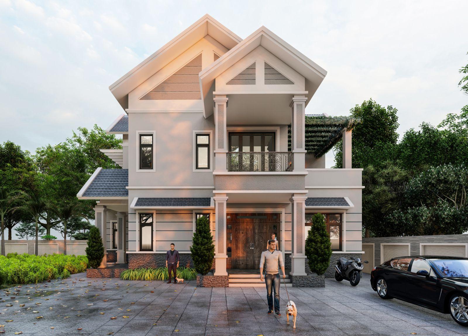 Thiết kế biệt thự 2 tầng mái thái tại Kim Sơn, Ninh Bình