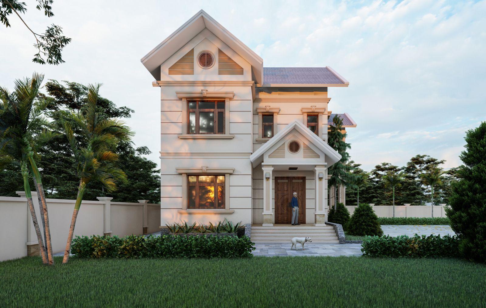 Thiết kế biệt thự 2 tầng mái thái tại Tứ Kỳ, Hải Dương